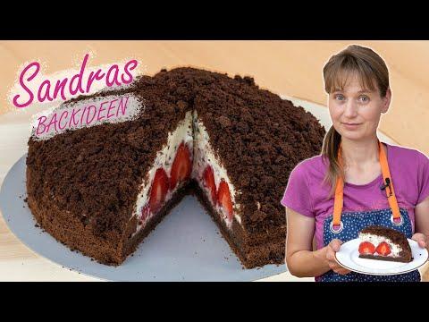 Maulwurfkuchen mit Erdbeeren Rezept | Schoko Krümeltorte mit cremiger Füllung backen | Maulwurftorte