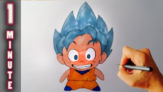 Draw 1 minute Chibi Goku SSGSS – Super Saiyan God Super Saiyan - Resurrection F
