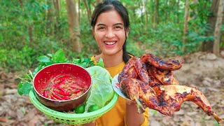 Girl Living Of The Grid !! Grilled chicken with hot spicy recipe eating Yummy