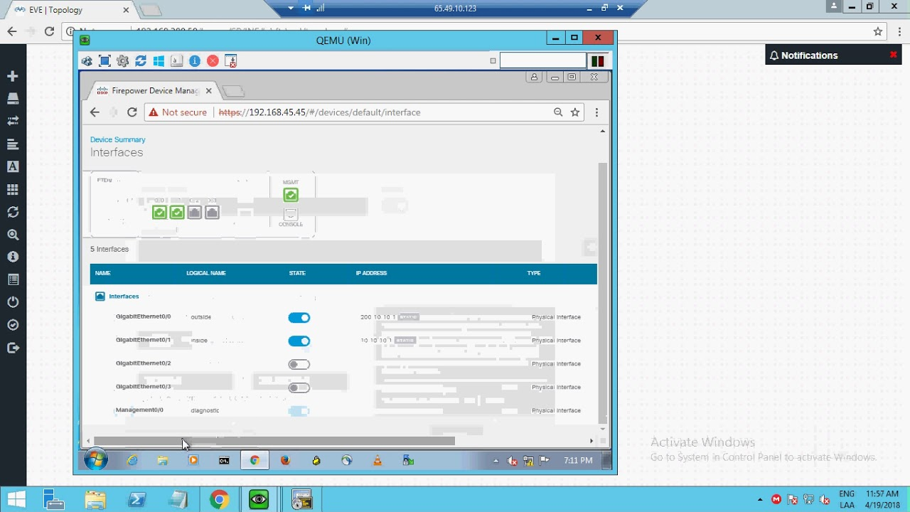 Cisco Firepower Threat Defense (FTD)v with EVE-ng Pro on Cloudmylab Basic  Config (spanish)