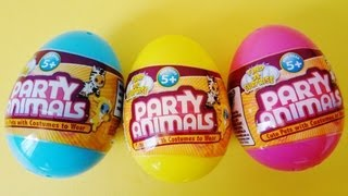 Party Animals surprise eggs unboxing 3 Cute pets with costumes to wear