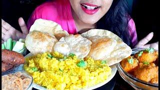 Eating Luchi ,Spicy ,Spicy Kashmiri Dum Aloo, Corn Pakora, khichdi, Sheer Khurma