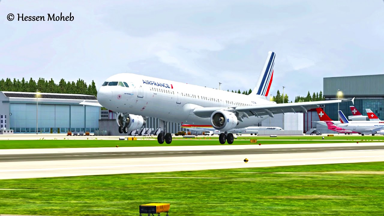 fsx air france airbus a321 landing at zurich youtube. Black Bedroom Furniture Sets. Home Design Ideas