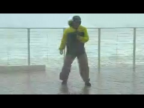 StormWatch - Jim Cantore saves NBC's Kerry Sanders from severe winds