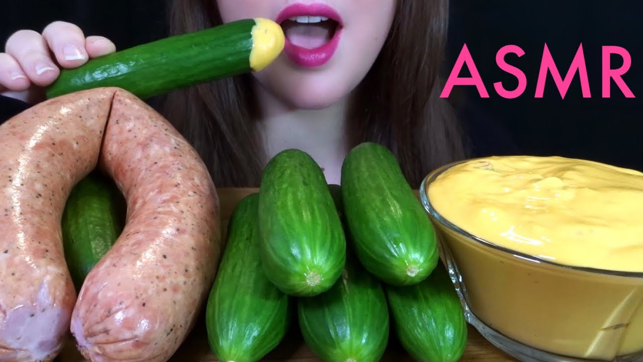 ASMR HUGE Kielbasa Sausage, Cucumbers, & SPICY CHEESE SAUCE - EXTREMELY SATISFYING Eating Sounds!
