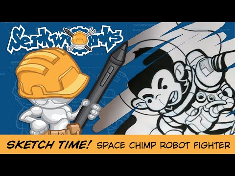 Sketch Time! Space Chimp Robot Fighter