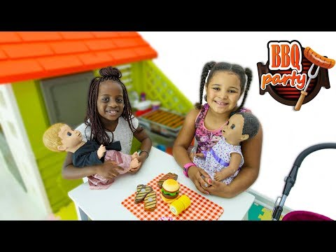 Luvabella Doll Barbecue Party!!! Kids Pretend Play Food Toys
