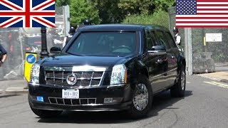 President Donald & Melania Trump in London! (2018) - Secret Service, Escorts and Aircraft!
