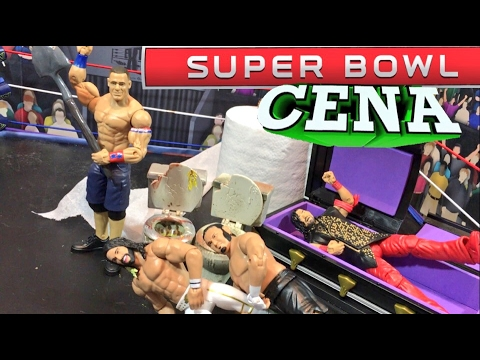 GTS WRESTLING SUPER CENA BOWL! WWE Mattel Figure Animation PPV Event!