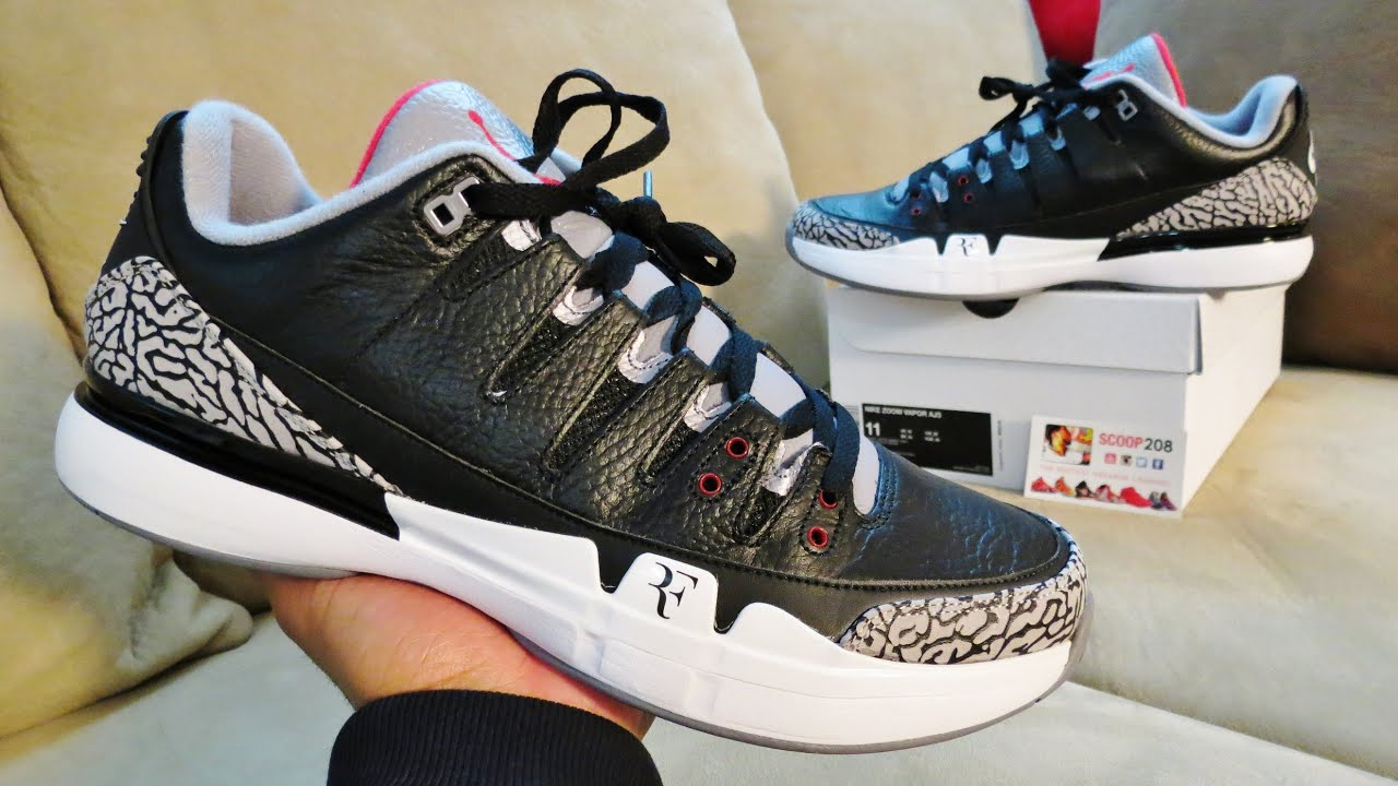 Nike Zoom Vapor AJ3 Black Cement Grey Red Federer Tennis Shoes
