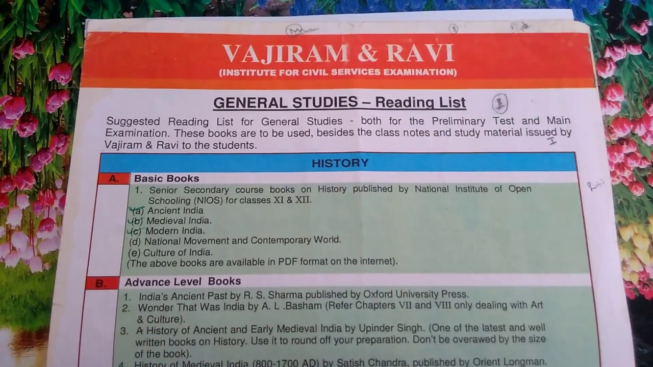 VAJIRAM & RAVI Provided UPSC Books list