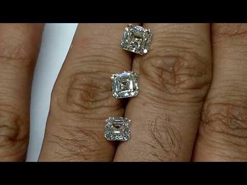 Sq emerald size compare 1 1.2 1.5 2.0 2.5 ct diamonds on finger