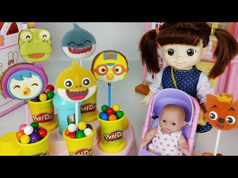 Baby Shark jelly and pororo Chocolate and Play doh surprise cooking toys baby Doll play -
