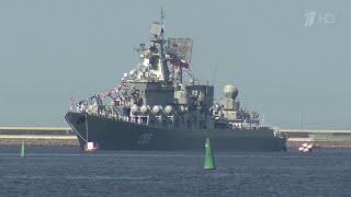 """Во главе отряда Северного флота из кругосветного похода вернулся домой фрегат """"Адмирал Горшков»."""