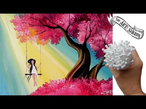 Easy Q Tip Painting Technique Cherry Tree How To Draw Girl On A Swing