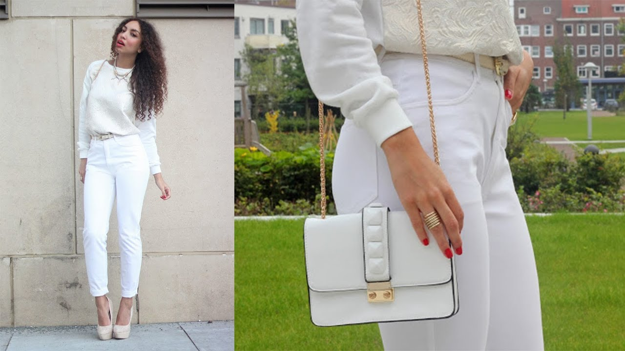OOTD: How to wear an all white winter outfit - YouTube