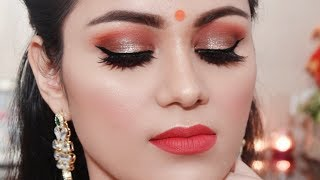Brown Halo Smokey Eyes With Tips Indian WEDDING GUEST Makeup In Hindi