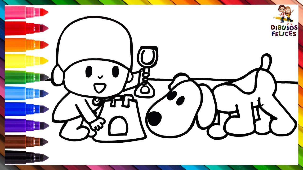 Dibuja y Colorea A Pocoyó Y Loula En La Playa 👶🐶🏖️ Dibujos Para Niños