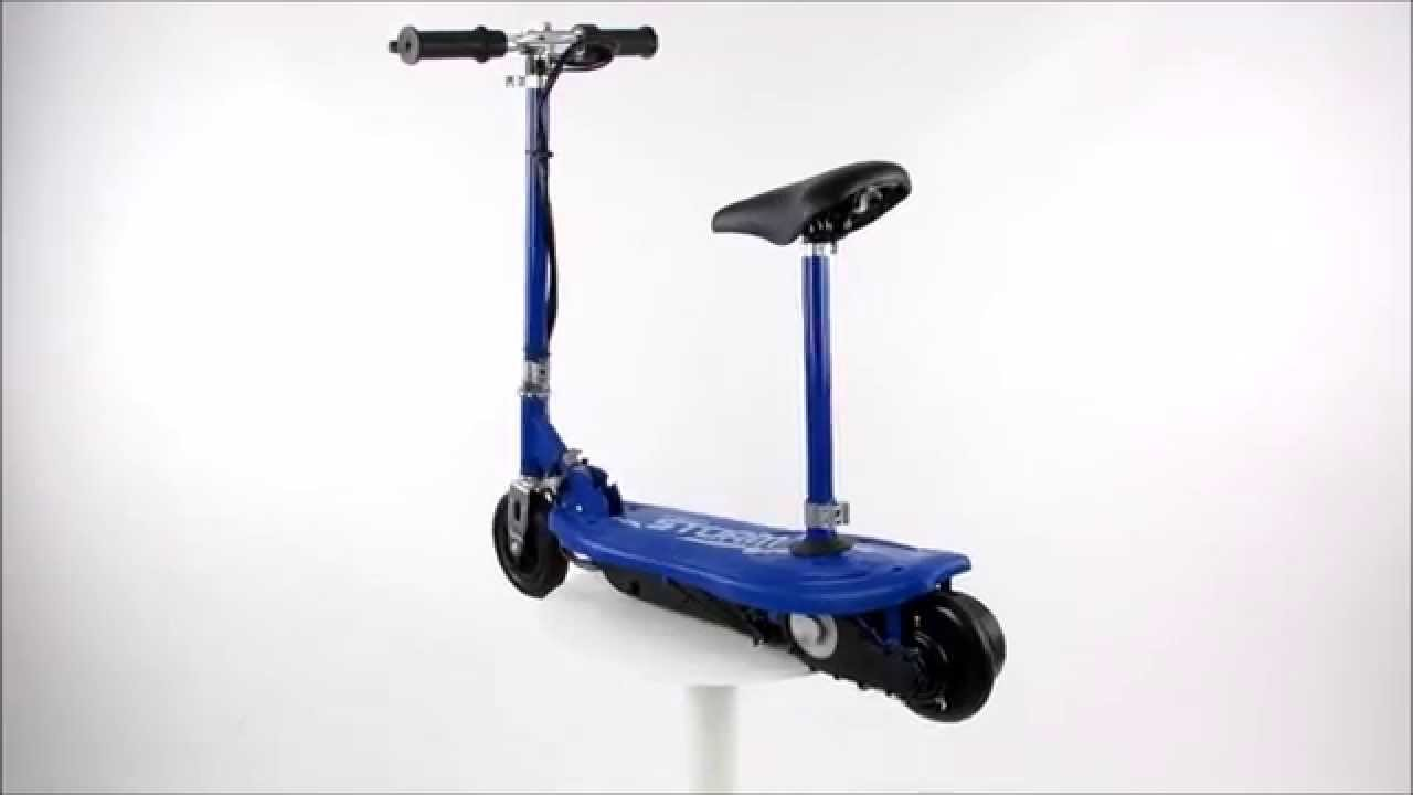 Storm Blue Kids Electric Scooter With Seat 360 Degree View