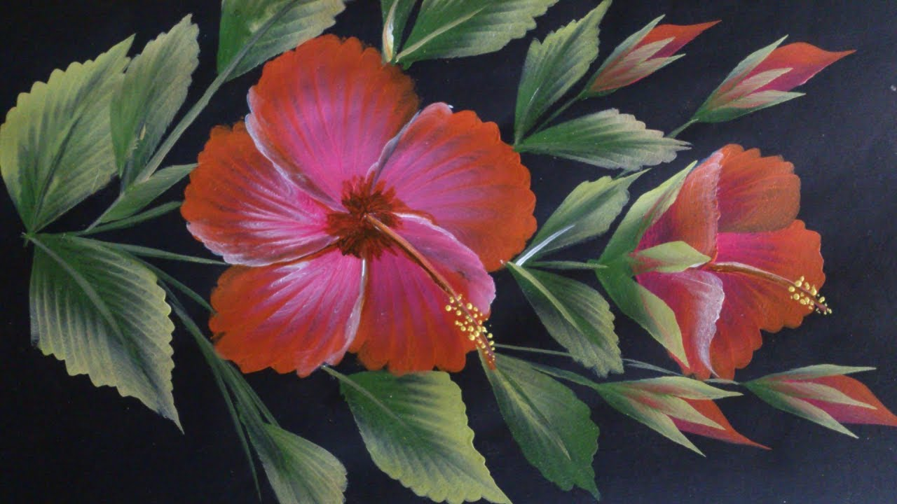 One Stroke Painting Hibiscus Flower Painting Youtube