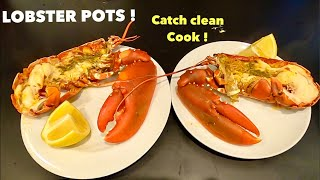 HAULING LOBSTER POTS with DAD , Catch Clean Cook ! Oven cooking lobster with garlic butter