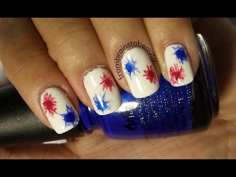 4th Of July Inspired Nails Easy Fireworks Tutorial Youtube