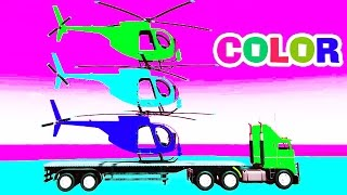 Learn Colors Children W Nursery Rhymes - COLOR HELICOPTER On Truck - Spiderman Cars Cartoon For Kids
