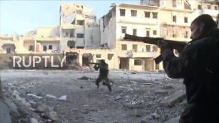 Syria  SAA tanks and infantry battle militants in Aleppo's Karm al Myasser district
