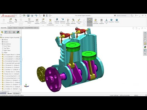 Solidworks tutorial | Design of Two Cylinder Engine in Solid