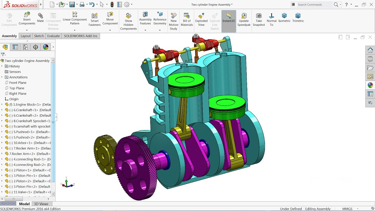 solidworks tutorial   design of two cylinder engine in solidworks