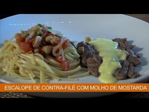 ESCALOPE DE CONTRA-FILÉ COM MOLHO DE MOSTARDA