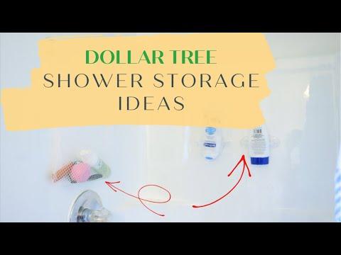 DOLLAR TREE BATHROOM SHOWER STORAGE IDEAS   SHOWER CADDY   DIY   SMALL SHOWER HACKS  SHANETTADIYLIFE