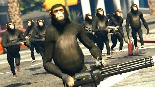GTA 5 Mods - HARAMBE'S REVENGE / MONKEY ARMY MOD! (GTA 5 PC Mods)