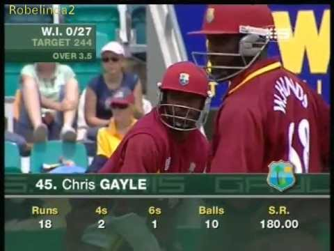 Chris Gayle warns Tait & Lee, administers a rectal examination 2005