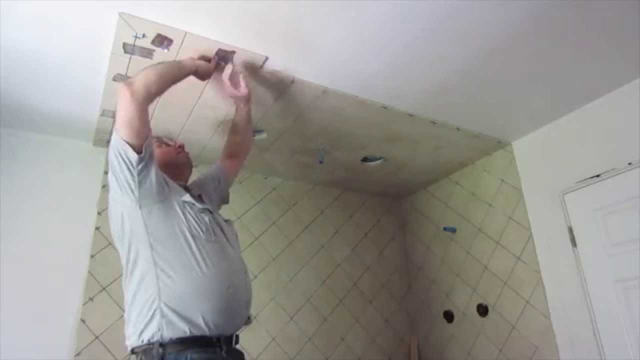How To Install Tile On A Ceiling Youtube