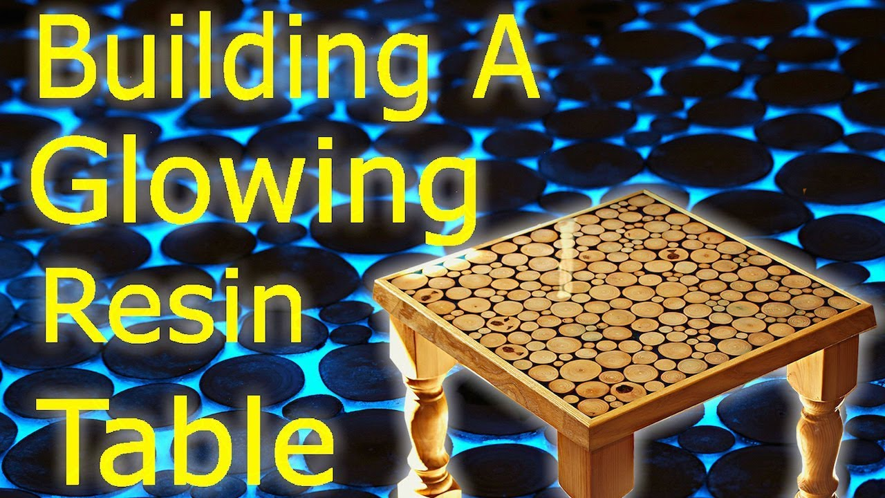 Making an epoxy resin and wood art coffee table glow in - Glow in the dark resin table ...