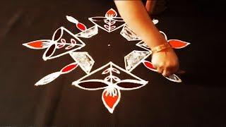 కార్తీక సోమవారం  rangoli designs with dots | simple deepam rangoli kolam | diya rangoli |