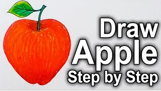 How to draw Red Apple-Drawing Green Apple-Step by step with Colored