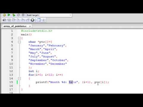 C Programming Tutorial - 59: Array of Pointers