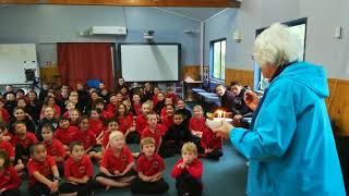 Opua School sings Happy Birthday to one of their favourite teachers