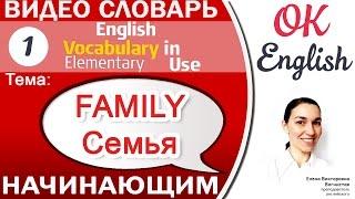Тема 1 Family - семья. 📕Английский словарь для начинающих. English vocabulary beginners