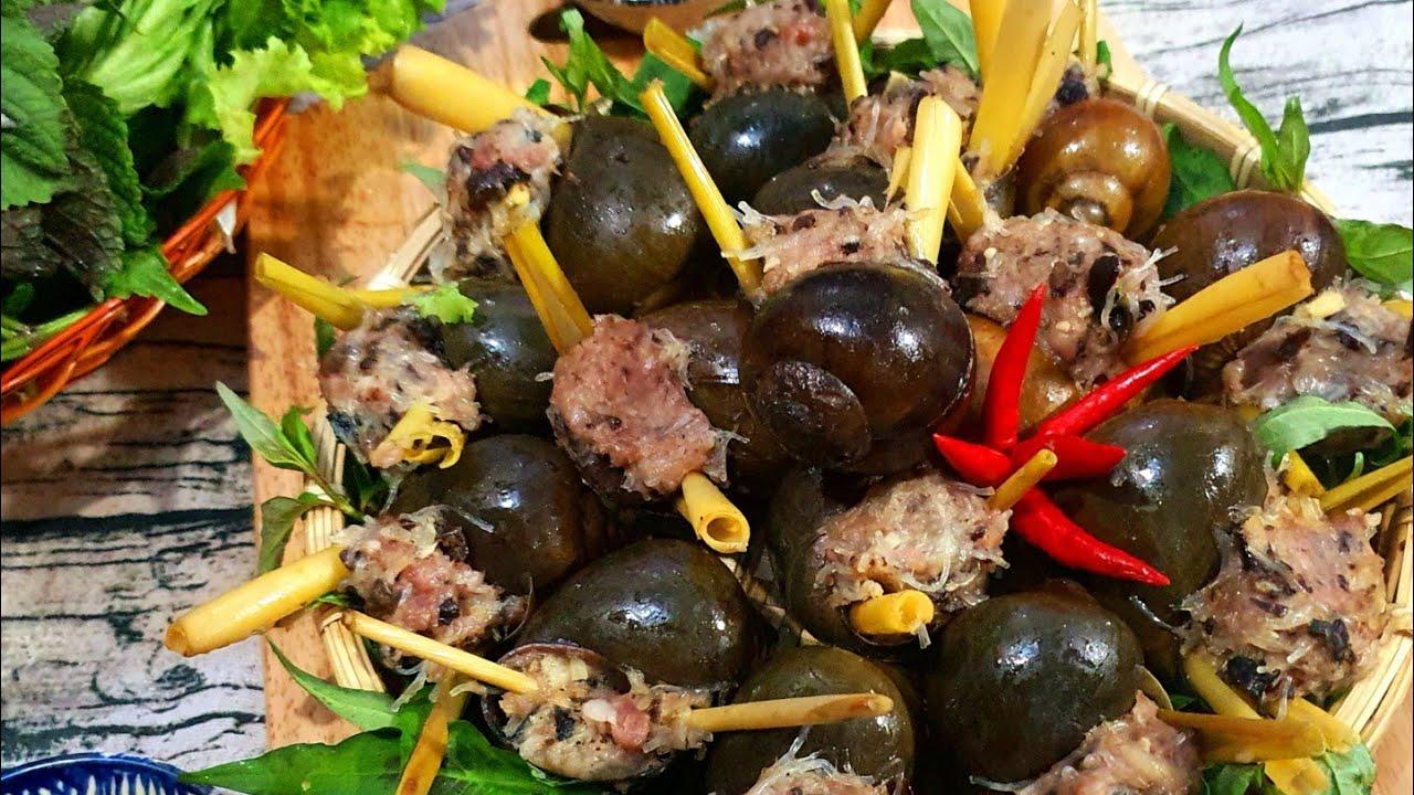 Cách làm ốc bươu nhồi thịt hấp sả cực ngon và đơn giản/Stuffed Steamed with lemongarass/hoangoanhtv