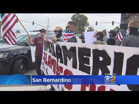 Anti-Sharia Law Protest Held In San Bernardino, Counter Protesters Accuse Group Of Being Anti-Muslim