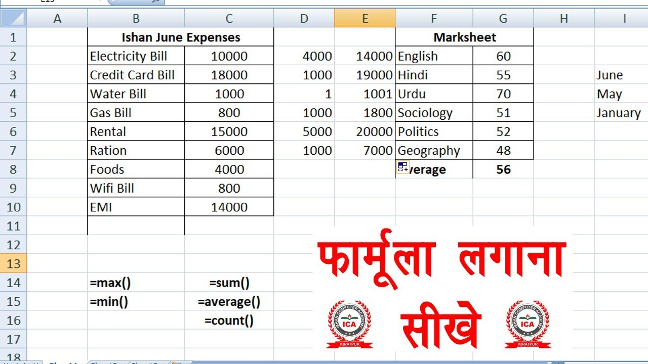 Formula of Sum Average Count Min Max in Excel   How to use formula in excel  in Hindi   Part 20