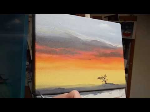 painting clouds in oil time lapse