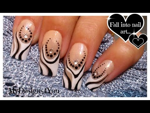 Abstract Nail Art Tutorial | Black And White Nails ♥ Абстрактный Черно-Белый Дизайн Ногтей