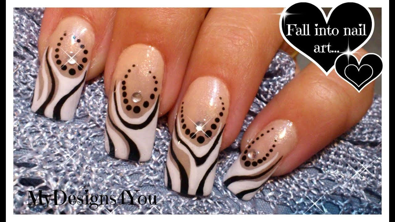 Abstract Nail Art Tutorial Black And White Nails