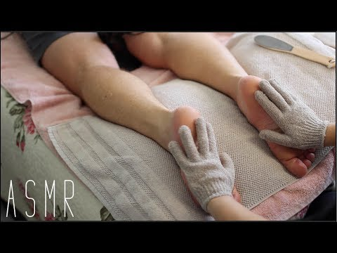 ASMR Soft Spoken Leg Massage with treatment sounds