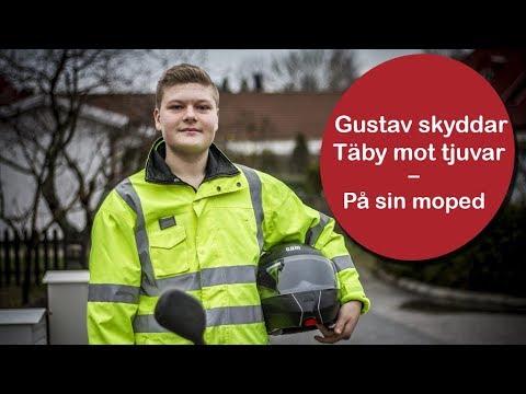 Gustav skyddar Täby mot tjuvar –från mopeden