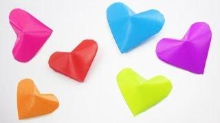 Episodio 695 - Cómo hacer corazones inflados 3D de origami y 3 ideas de como utilizarlos (FACIL)